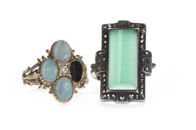 Lot 835-A PARTIAL OPAL RING AND A GREEN HARDSTONE AND MARCASITE RING