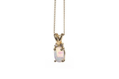 Lot 845 - AN OPAL AND DIAMOND PENDANT