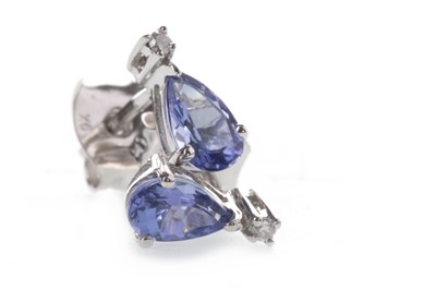 Lot 848 - A PAIR OF TANZANITE AND DIAMOND EARRINGS
