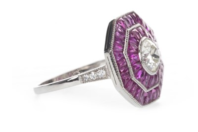 Lot 880-A RUBY AND DIAMOND RING