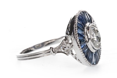 Lot 881 - A SAPPHIRE AND DIAMOND TARGET RING