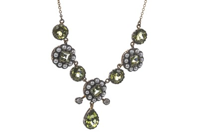 Lot 336-A PERIDOT, PEARL AND DIAMOND NECKLACE