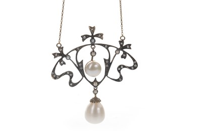 Lot 337-A PEARL AND DIAMOND NECKLACE