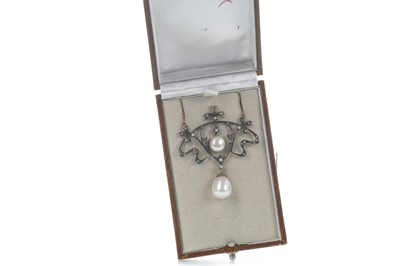 Lot 883-A PEARL AND DIAMOND NECKLACE