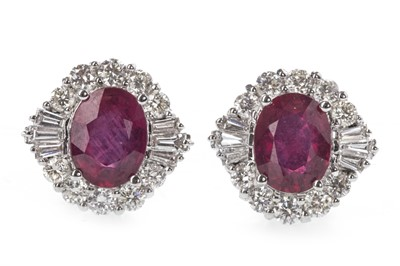Lot 342-A PAIR OF TREATED RUBY AND DIAMOND EARRINGS