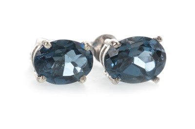 Lot 892 - A PAIR OF LONDON BLUE TOPAZ EARRINGS