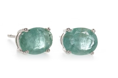 Lot 898-A PAIR OF EMERALD STUD EARRINGS