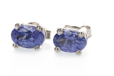 Lot 899 - A PAIR OF TANZANITE STUD EARRINGS