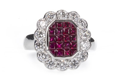 Lot 334-A RUBY AND DIAMOND RING
