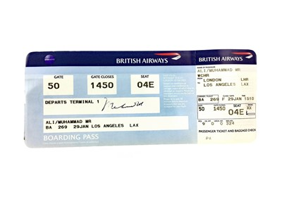 Lot 1753 - AN AUTOGRAPHED MUHAMMAD ALI BRITISH AIRWAYS BOARDING PASS