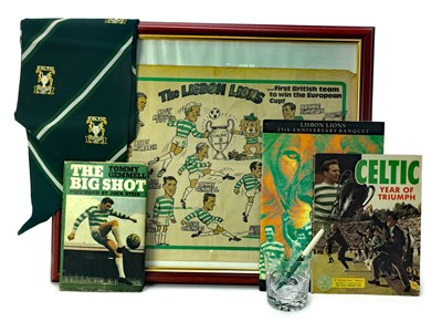 Lot 1748 - A SIGNED LISBON LIONS 25TH ANNIVESARY BANQUET PROGRAMME ALONG WITH OTHER RELATED PIECES