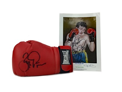 Lot 1756 - A BOXING GLOVE SIGNED BY BARRY MCGUIGAN AND A SIGNED PRINT OF THE BOXER