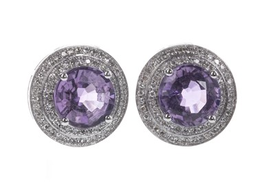 Lot 874-A PAIR OF AMETHYST AND DIAMOND EARRINGS