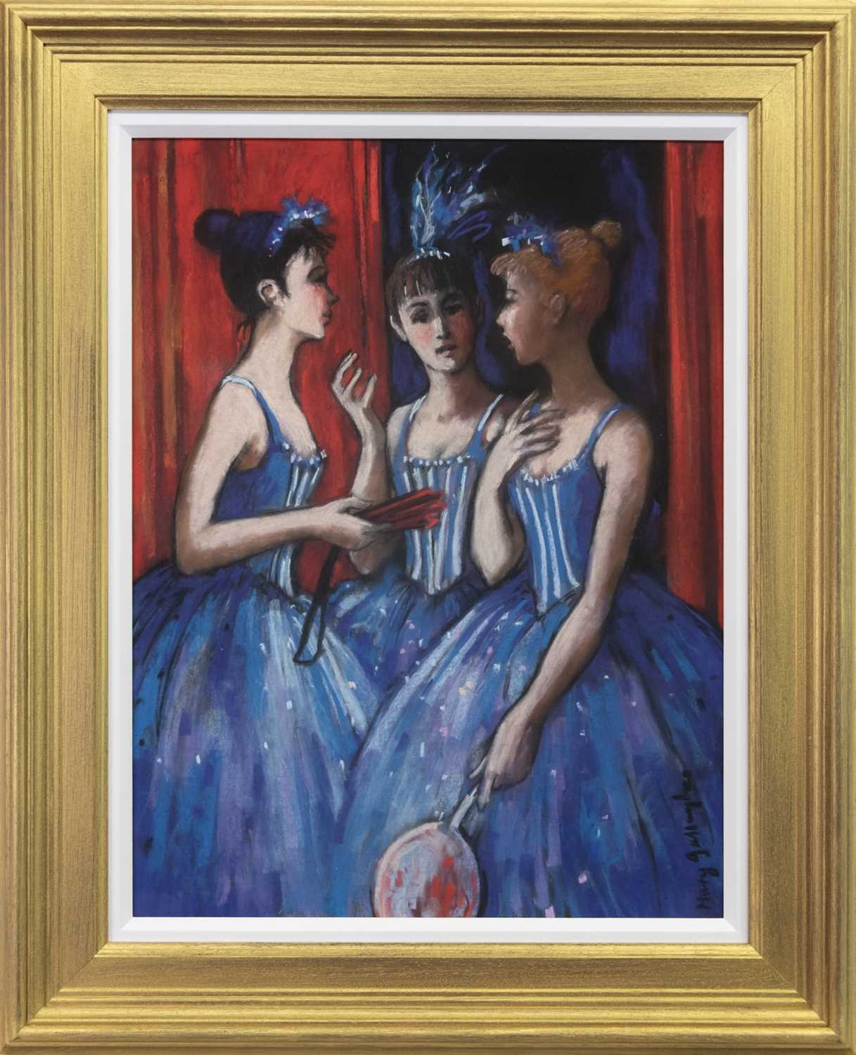 Lot 509-BEHIND THE SCENES, AN OIL BY MARY GALLAGHER