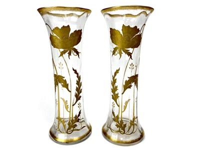 Lot 1021-A PAIR OF ART NOUVEAU GLASS VASES