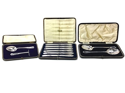 Lot 435 - A PAIR OF BRITANNIA SILVER SERVING SPOONS, A SET OF PASTRY KNIVES AND ANOTHER