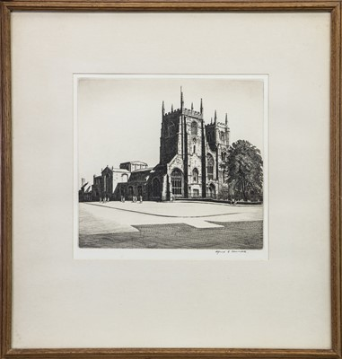 Lot 405-VIEW TOWARDS A CHURCH, AN ETCHING BY ALFRED RICHARD BLUNDELL