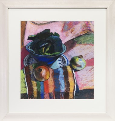 Lot 516-FRUIT AND VEG, A PASTEL BY CAROL MOORE