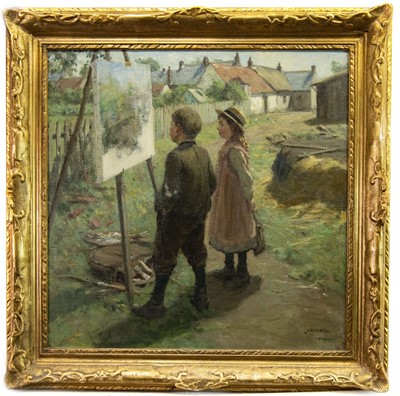 Lot 23-THE YOUNG ART CRITICS, AN OIL BY JAMES RIDDEL