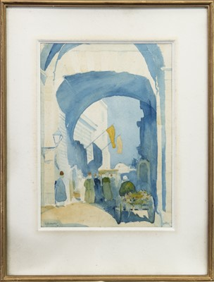 Lot 420-TOWARDS THE BAZAAR, A WATERCOLOUR BY J R MACKAY