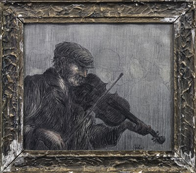 Lot 430-THE MUSICIAN, A MIXED MEDIA BY HARRY KEIR