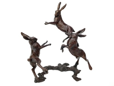 Lot 1420 - BOXING HARES, A BRONZE BY MICHAEL SIMPSON