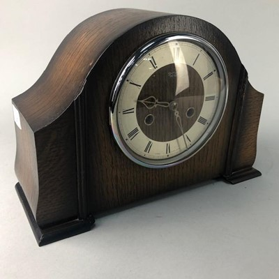 Lot 27-A SMITHS  OAK CASED MANTEL CLOCK