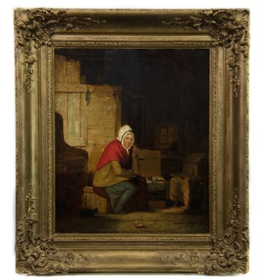 Lot 6-THE RED SHAWL, AN OIL BY JOHN STEWART DEWAR
