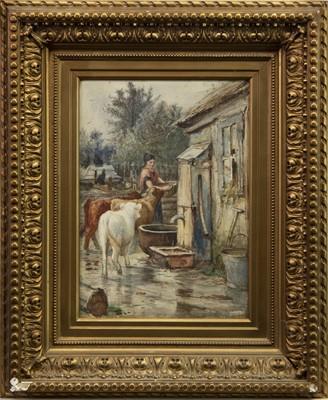 Lot 7-WOMAN WITH CALVES, A WATERCOLOUR BY JOSEPH DENOVAN ADAM