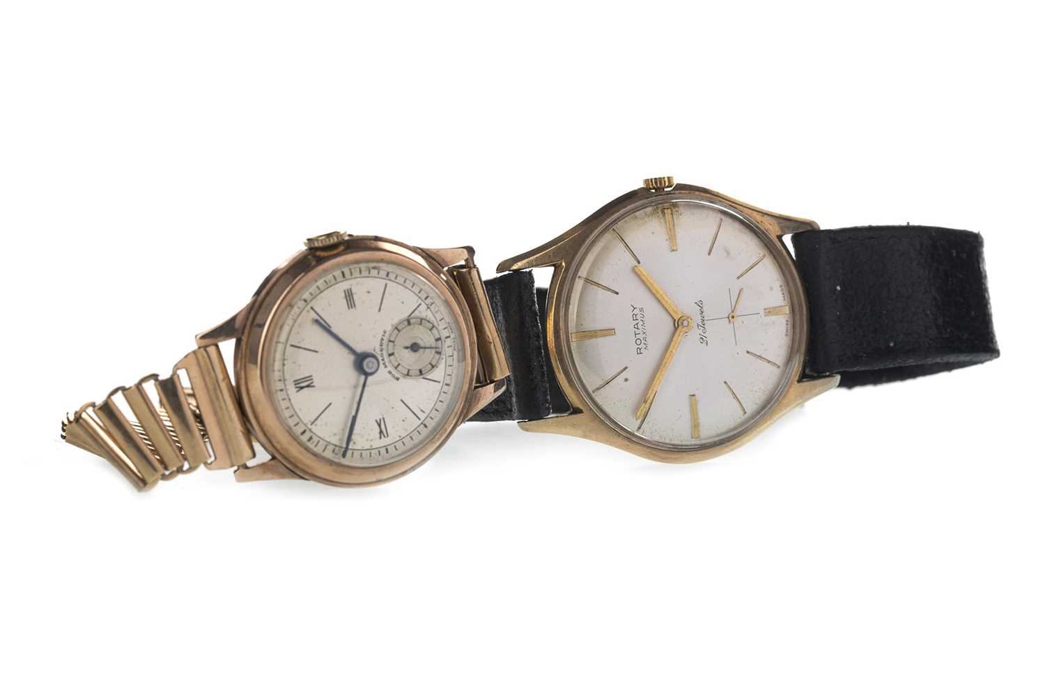 Lot 717-A GENTLEMAN'S ROTARY MAXIMUS NINE CARAT GOLD MANUAL WIND WRIST WATCH AND ANOTHER GOLD EXAMPLE