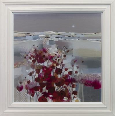Lot 35 - POPPIES AT DUSK, A MIXED MEDIA BY EMMA DAVIS