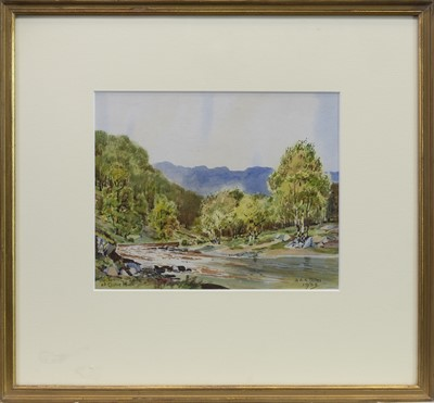 Lot 11-THE TUMMEL AT CLUNY MHOR, A WATERCOLOUR BY ALASTAIR A K DALLAS