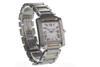 Lot 720 - A GENTLEMAN'S CARTIER TANK FRANCAIS BI COLOUR STAINLESS STEEL AUTOMATIC WRIST WATCH