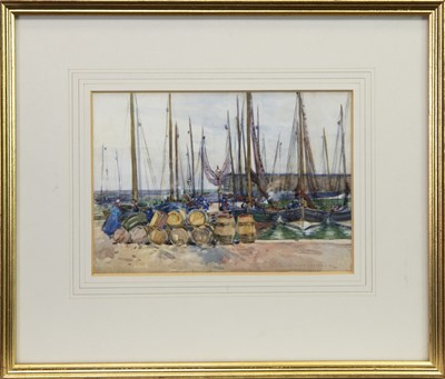 Lot 402-SCOTTISH HARBOUR SCENE, A WATERCOLOUR BY WAT MILLER