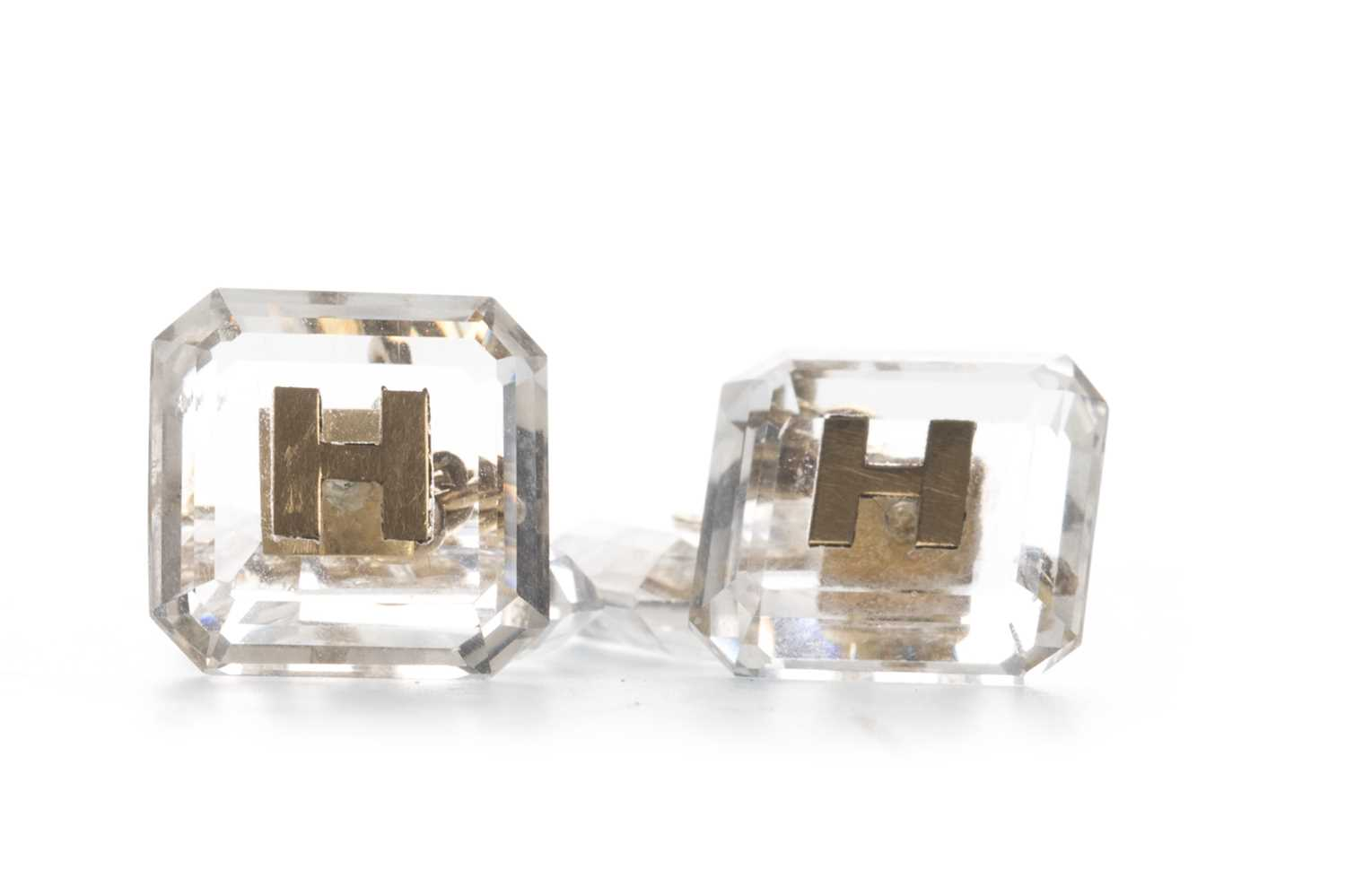 Lot 302-A PAIR OF 'H' INITIAL CRYSTAL CUFFLINKS