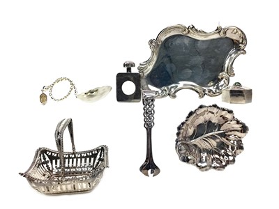 Lot 446 - A MEXICAN SILVER PILL BOX AND SCENT BOTTLE ALONG WITH OTHER SILVER INCLUDING CONTINENTAL EXAMPLES