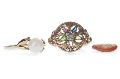 Lot 306-A MASONIC DIAMOND AND GEM SET ORDER OF THE EASTERN STAR RING, FAUX PEARL RING AND UNMOUNTED CAMEO