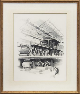Lot 566-INDUSTRIAL SCENE I, A PENCIL ON PAPER BY CLAUDE BUCKLEY