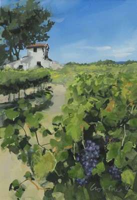 Lot 518-READY FOR HARVEST, A GOUACHE BY GILLIAN GOODHEIR