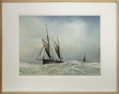 Lot 403-BOATS IN CHOPPY SEAS, AN OIL BY JOHN R TODD