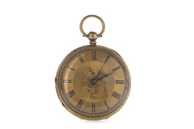Lot 724 - AN EIGHTEEN CARAT GOLD OPEN FACE KEY WIND POCKET WATCH