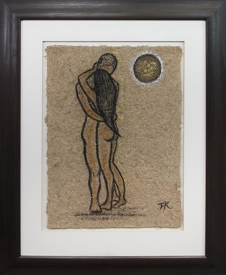 Lot 404-MOONLIT LOVERS, A MIXED MEDIA