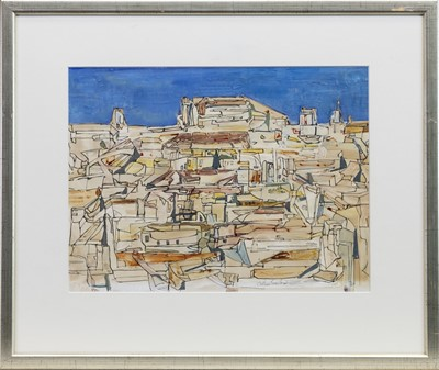 Lot 573-SPANISH VILLAGE, A MIXED MEDIA BY GEORGE CALLUM SINCLAIR