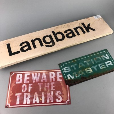 Lot 247 - A STATION SIGN FOR LANGBANK AND TWO OTHERS