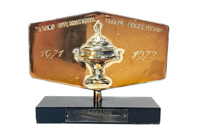 Lot 1773 - AIRDRIE F.C. INTEREST - A TEXACO INTERNATIONAL LEAGUE COMPETITION FINALISTS TROPHY
