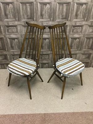Lot 1462-A SET OF FOUR ERCOL SPINDLE BACKED DINING CHAIRS