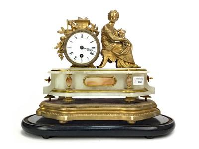 Lot 1168 - A 19TH CENTURY GILT AND ALABASTER MANTEL CLOCK