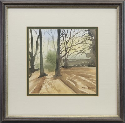 Lot 411-WOODLAND SCENE I, A WATERCOLOUR BY ANNE BROWN