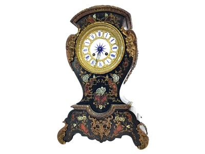 Lot 1169 - A LATE VICTORIAN BOULLE MANTEL CLOCK