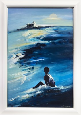 Lot 521-TIDES OF TIREE, AN ACRYLIC BY BILL BLACKWOOD
